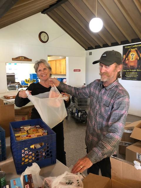 Diana and Rick packing Easter bags 2019